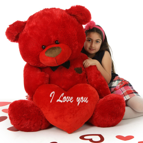 Big Red Valentine's Teddy Bear With Bow Tie And Plush I
