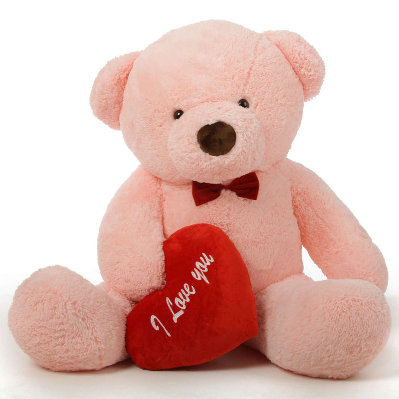 "Romantic and Sweet! 60in Gigi Chubs Teddy Bear for Valentine's Day with big ""I Love You"" hearts"