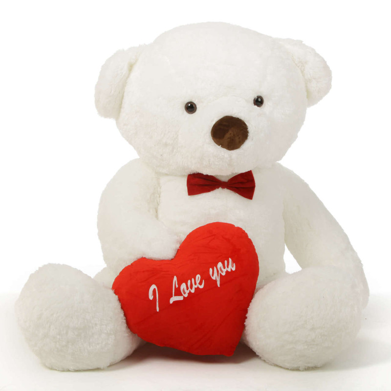 "Romantic and Sweet! 60in Sprinkles Chubs Teddy Bear for Valentine's Day with big ""I Love You"" hearts"