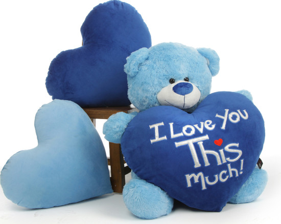 """Marty Shags is a sweet light blue bear with a huge """"I Love You This Much!"""" royal blue plush heart – 35in"""