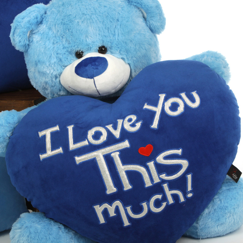 """Marty Shags """"I Love You This Much!"""" royal blue plush heart – 35in"""