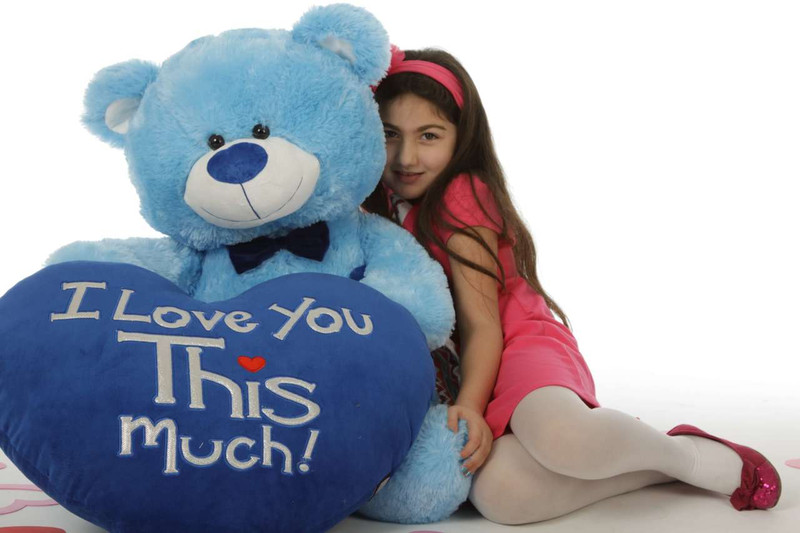 """Marty Shags with a huge """"I Love You This Much!"""" royal blue plush heart – 45in (She Love Me)"""