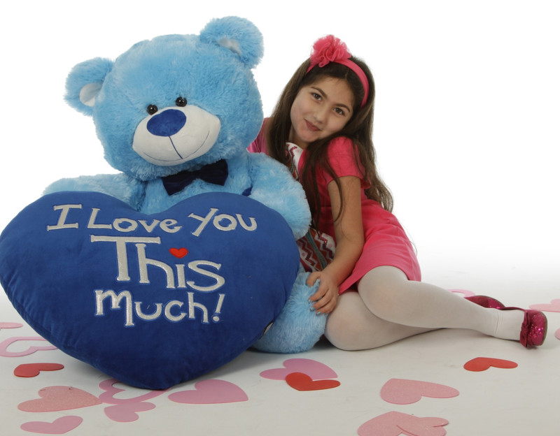 """Marty Shags with a huge """"I Love You This Much!"""" royal blue plush heart – 45in (She Loves Me!)"""