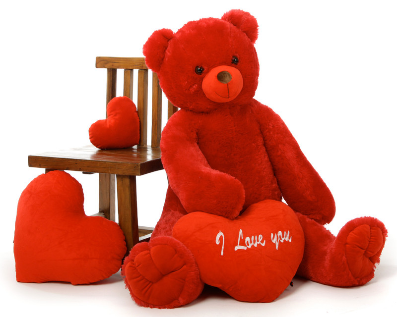 She's beautiful, red and perfect for Valentine's Day – Scarlet Tubs 42in teddy bear with choice of plush heart pillow designs