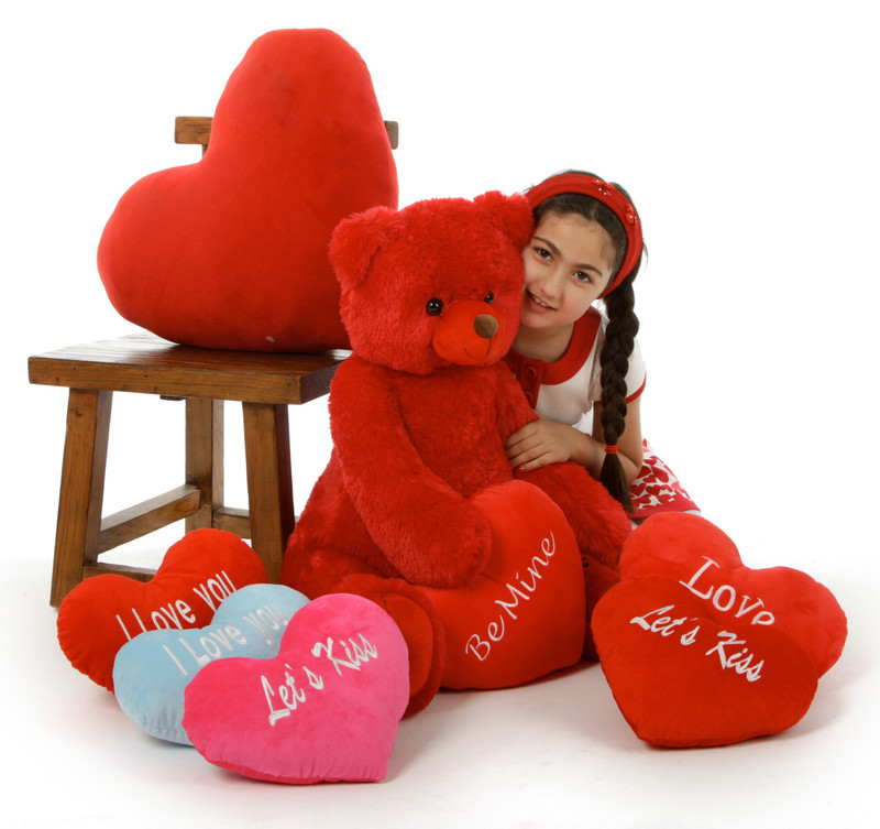 Scarlet Tubs 32in teddy bear with choice of plush heart pillow designs