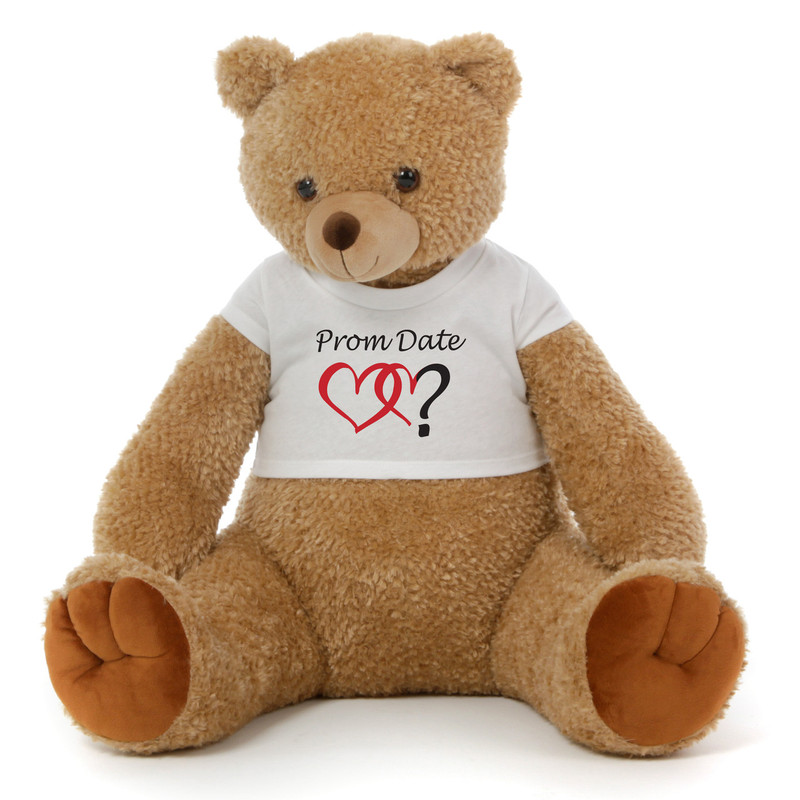 2½ ft Honey Tubs adorable amber brown Prom Teddy Bear (Prom Date? - Double Hearts)