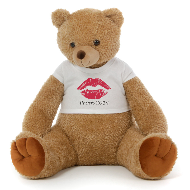 2½ ft Honey Tubs adorable amber brown Prom Teddy Bear (Prom 2014 - Lips)