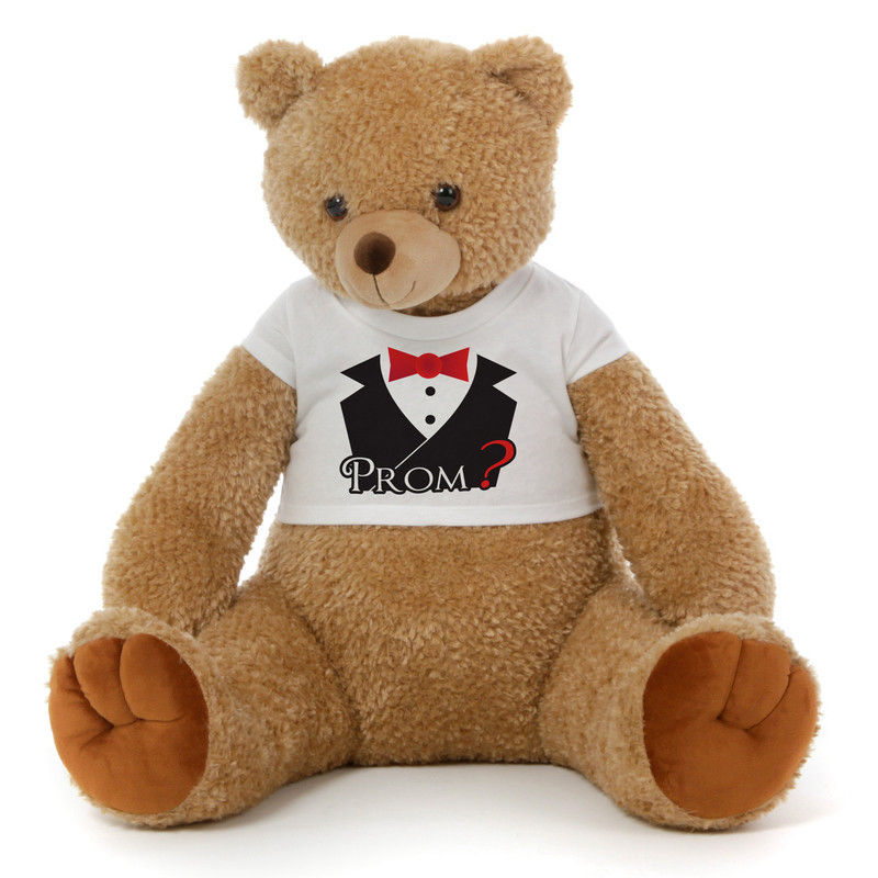 2½ ft Honey Tubs adorable amber brown Prom Teddy Bear (Prom? - Tuxedo)