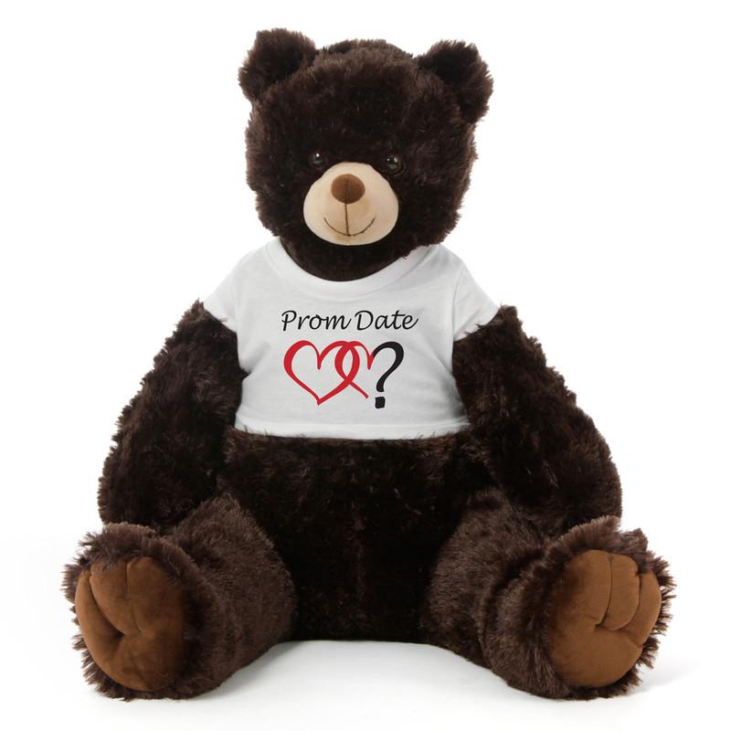 2½ ft Baby Tubs Cuddly Dark Brown Prom Teddy Bear (Prom Date?- Double Hearts)
