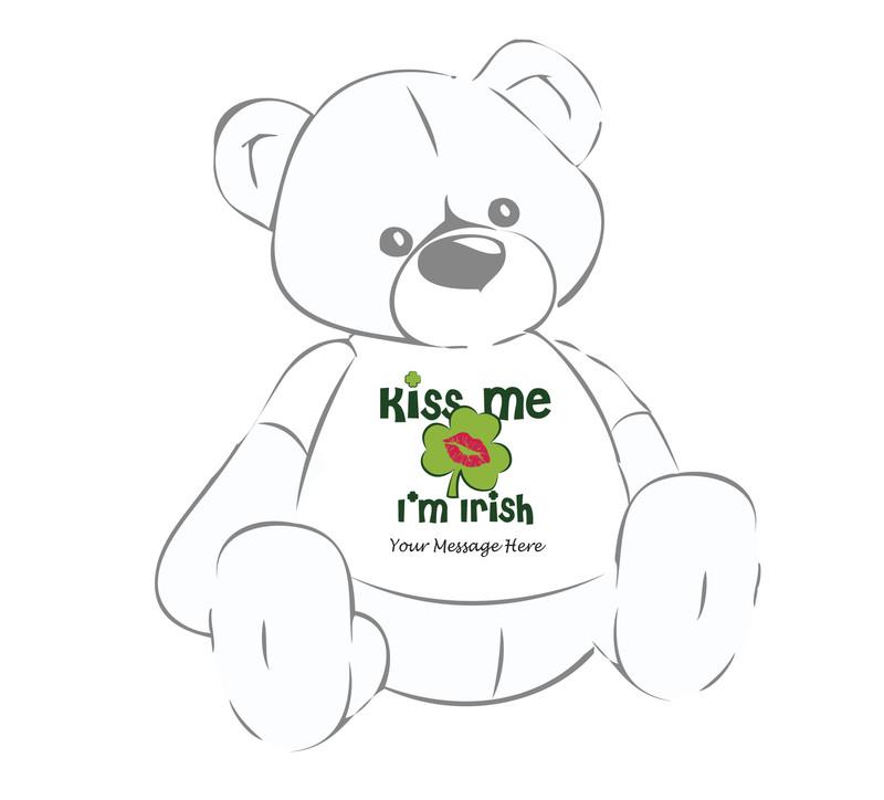 Personalized 'Kiss Me I'm Irish' Giant Teddy Bear Shirt