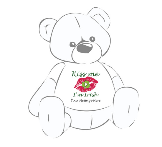 Personalized St. Patrick's Day Kiss Me I'm Irish lips sealed w/clover Giant Teddy Bear Shirt