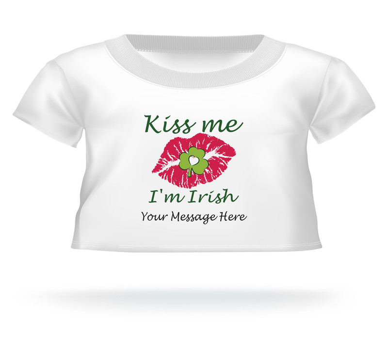 St. Patrick's Day Kiss Me I'm Irish lips sealed w/clover Giant Teddy Bear Personalized Shirt