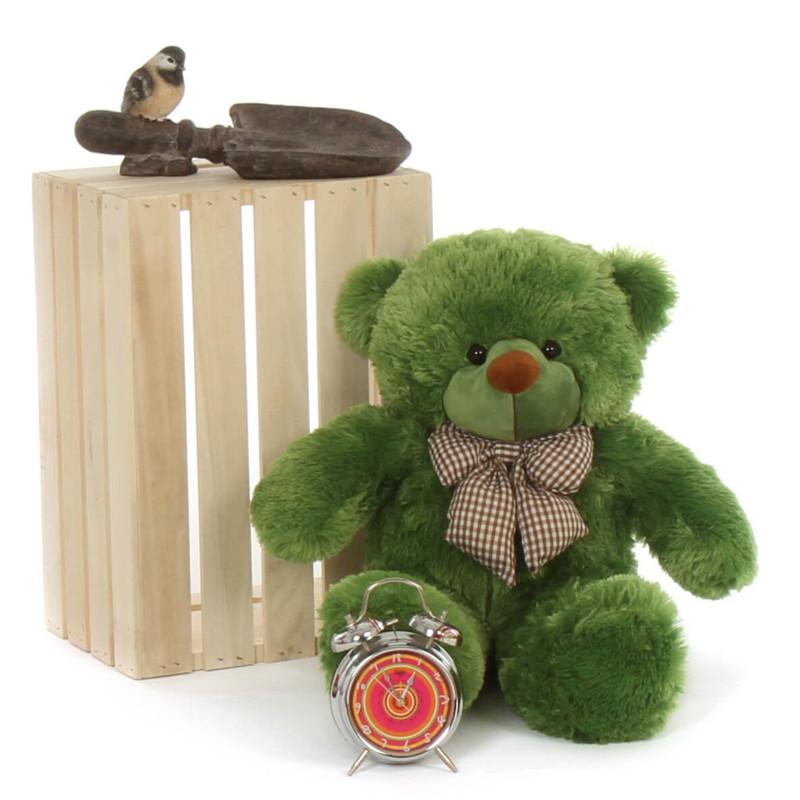 2ft big adorable green lucky cuddles teddy bear beary cute with bow