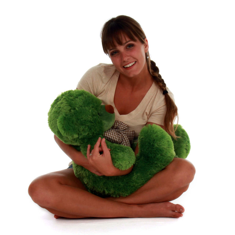 2ft big adorable green lucky cuddles teddy bear beary huggable
