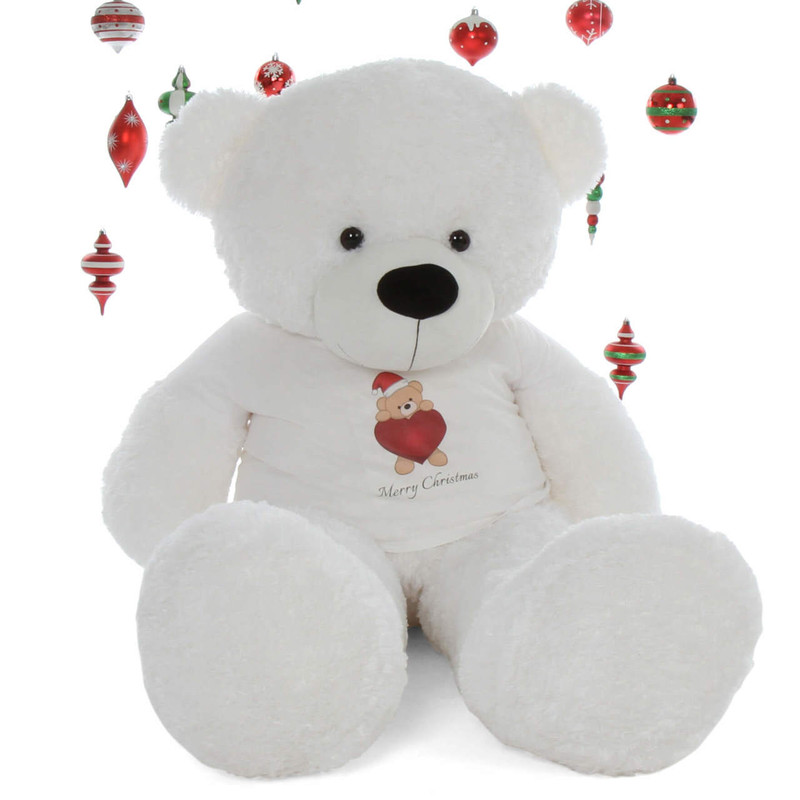 60in Merry Christmas  Life Size Extra soft White Teddy Bear Coco Cuddles gift special