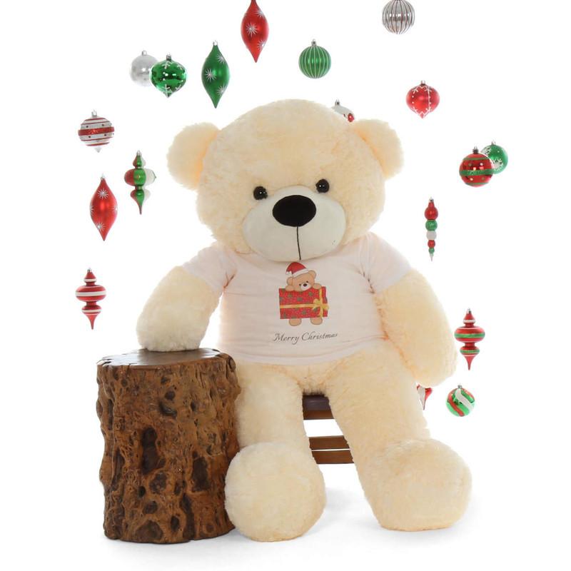 48in most cuddly Merry Christmas  Life Size huggable Cream Teddy Bear Cozy Cuddles