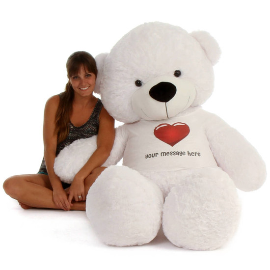 6ft Life Size Personalized Teddy Bear White Coco Cuddles