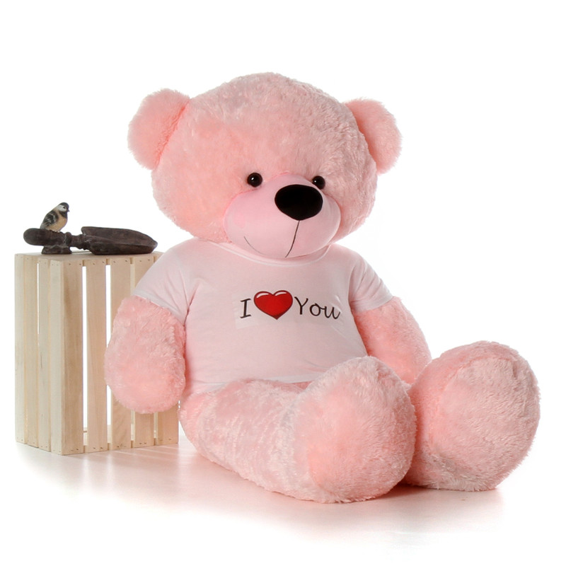 5ft Life Size Giant Teddy for Valentine's Day pink Lady Cuddles with I Love You shirt