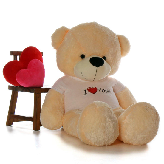 6ft Life Size Giant Teddy for Valentine's Day Cream Cozy Cuddles with I Love You shirt