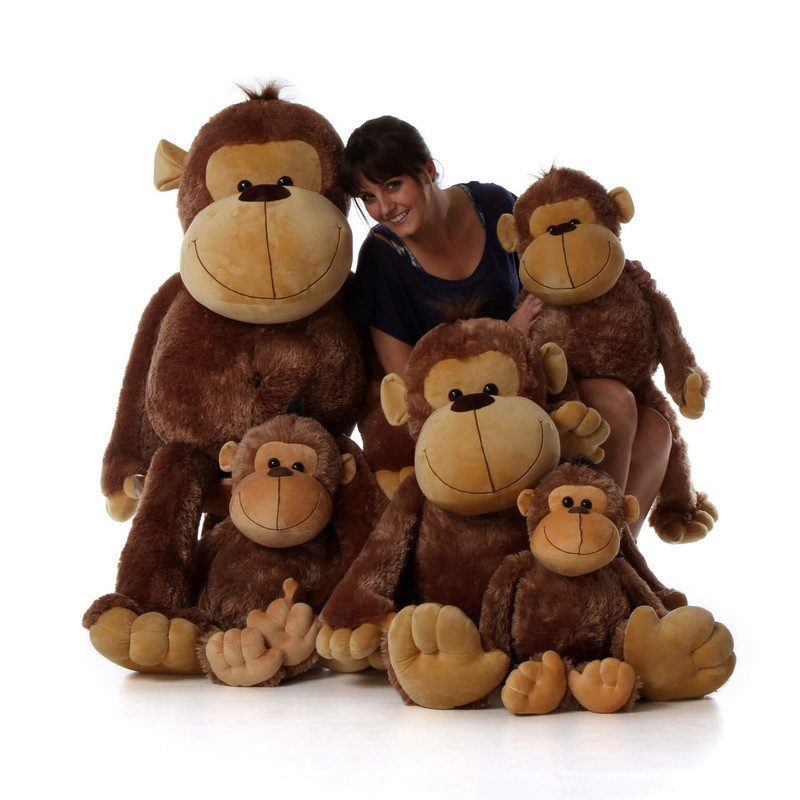30in giant stuffed monkey funny freddy with super soft brown fur from giant teddy brand giant. Black Bedroom Furniture Sets. Home Design Ideas