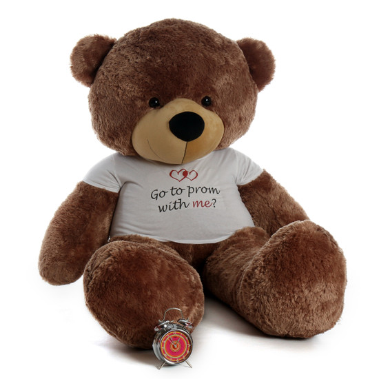 "Personalized ""Go to prom with me"" 72in Mocha Sunny Cuddles Teddy Bear"