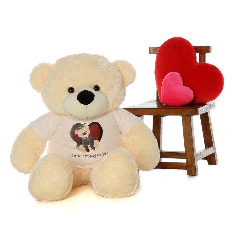 Graduation is more memorable with a huge 48in cream teddy bear 3-5 words of personalization