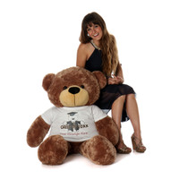 4ft Sunny Cuddles Graduation Teddy Bear Mocha Brown Class of 20XX