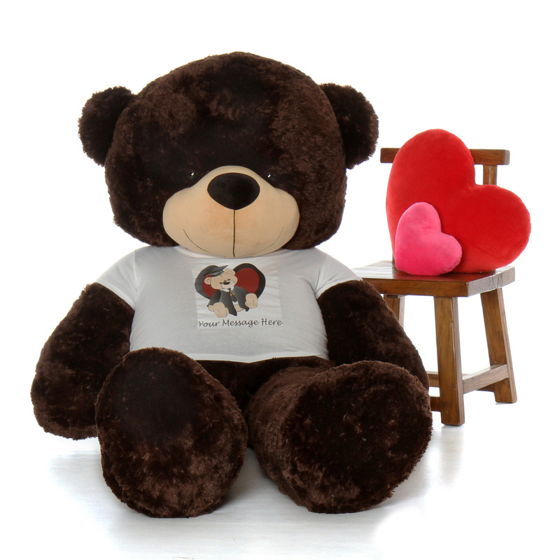 6ft Life Size Personalized Graduation Teddy Bear Chocolate Brownie Cuddles