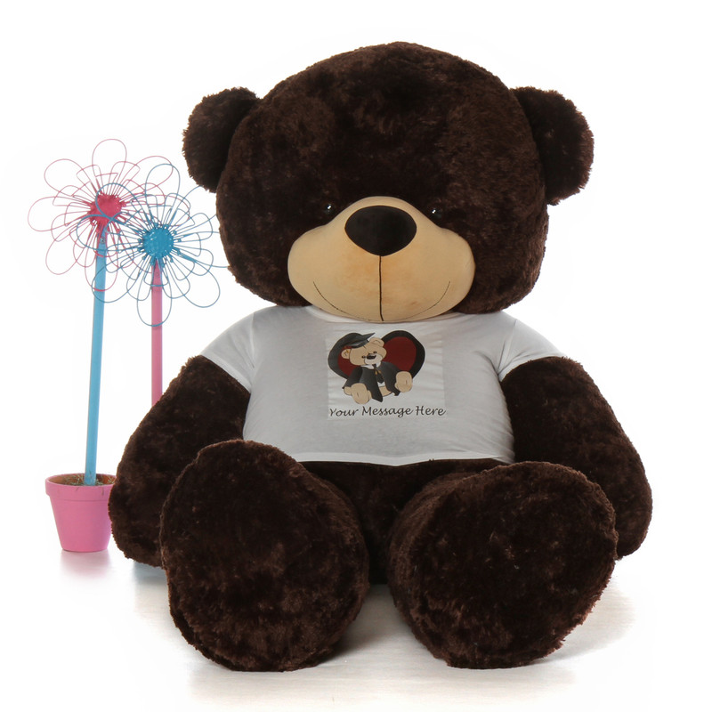 Huge 72in personalized graduation teddy bear with 3-5 words printed on adorable shirt