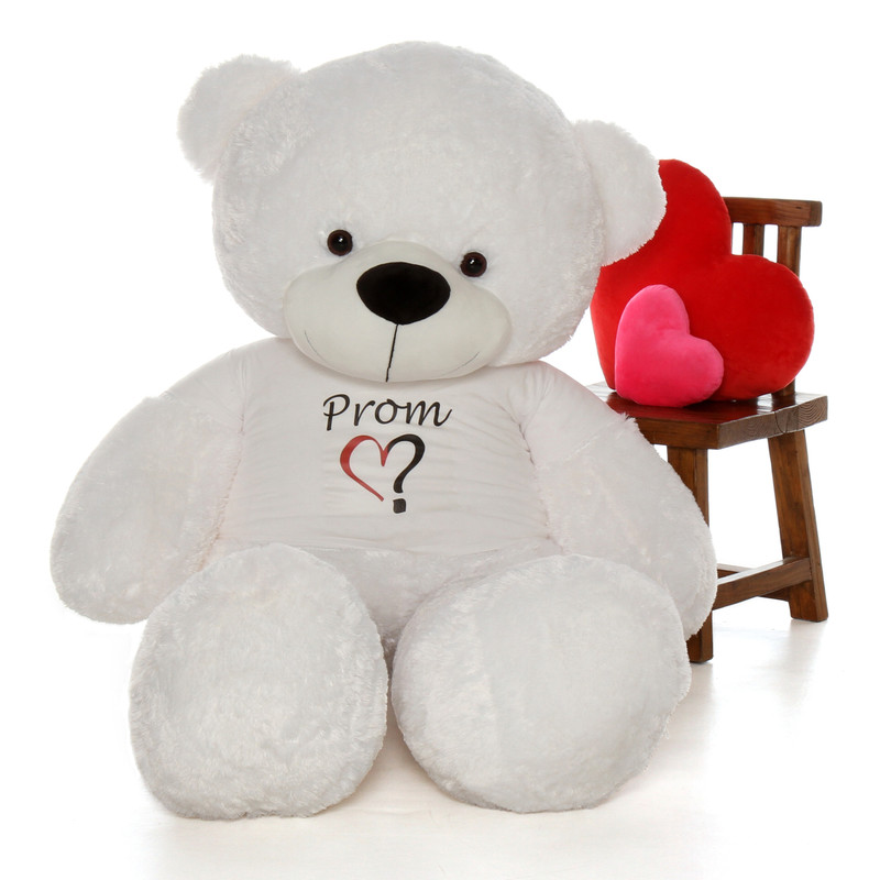 6ft White Coco Cuddles Ask a date to prom teddy bear in a heart Prom heart shirt