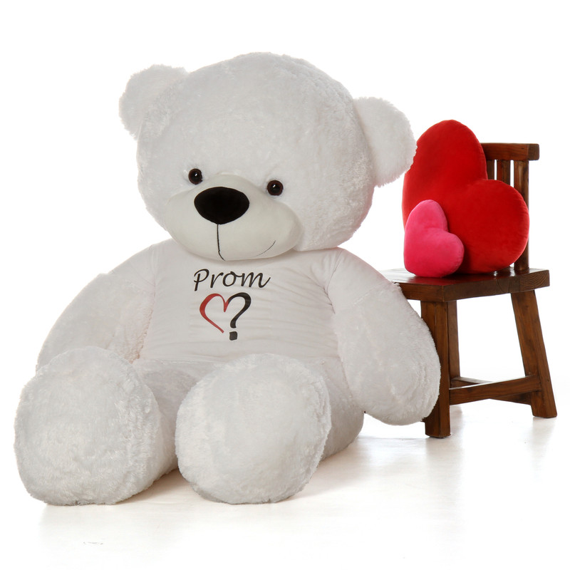 Life Size 72in Ask a Date To Prom Teddy Bear White Coco Cuddles from Giant Teddy