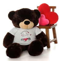 Mother's Day teddy bear 48in Brownie Cuddles in Awesome Mom shirt