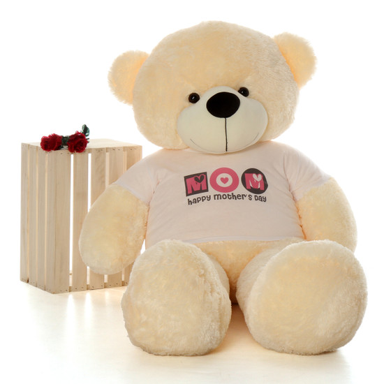 5ft Happy Mothers Day teddy bear vanilla cream Cozy Cuddles