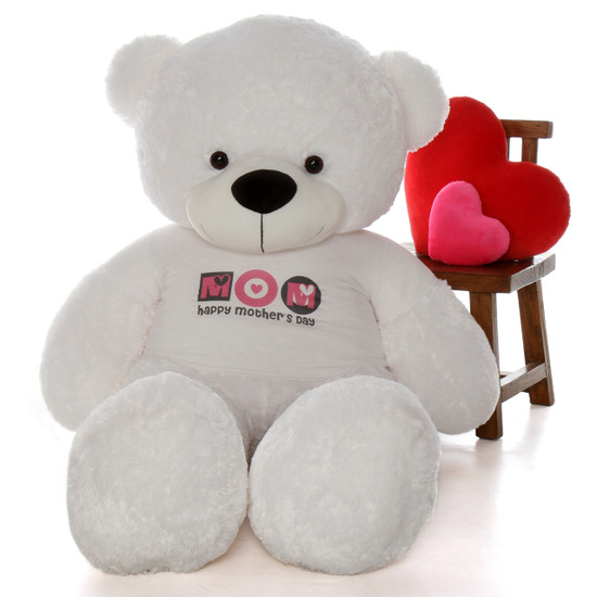 """6ft White Coco Cuddles teddy bear in """"Happy Mother's Day"""" shirt"""