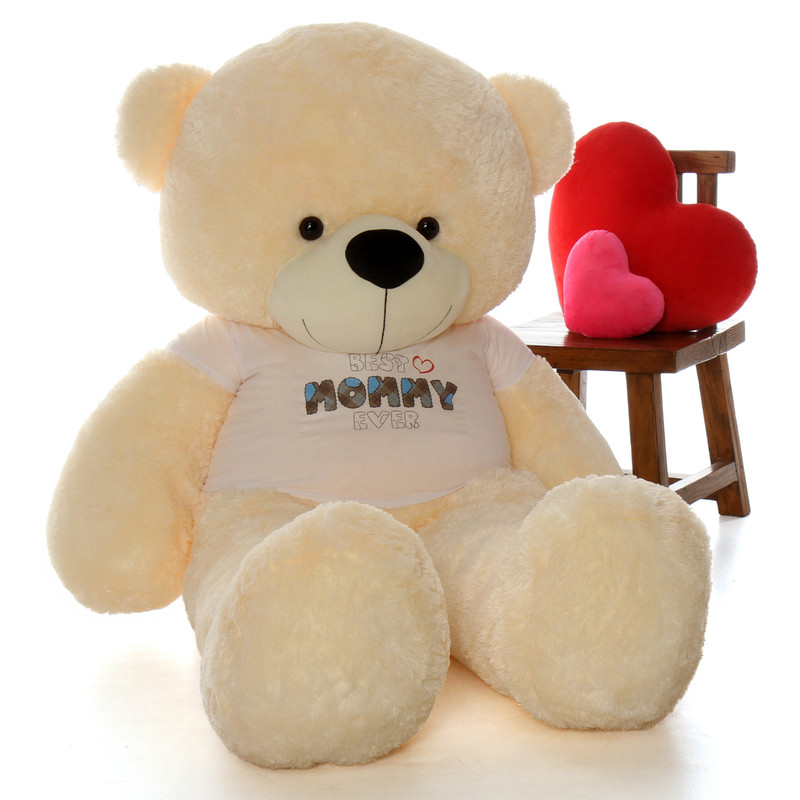 6ft Vanilla Cream Cozy Cuddles Teddy Bear in 'Best Mommy Ever' shirt