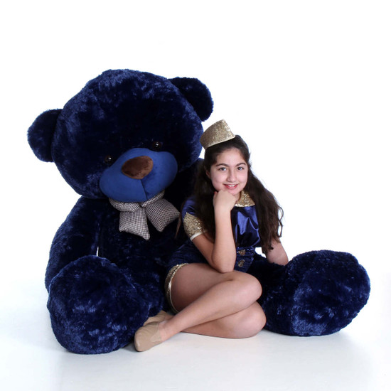 72in Giant Teddy Royce Cuddles Navy Blue Huge Soft Bear