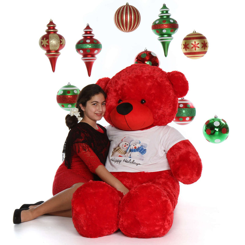 5ft Red Bear Happy Holidays Giant Teddy Bitsy Cuddles