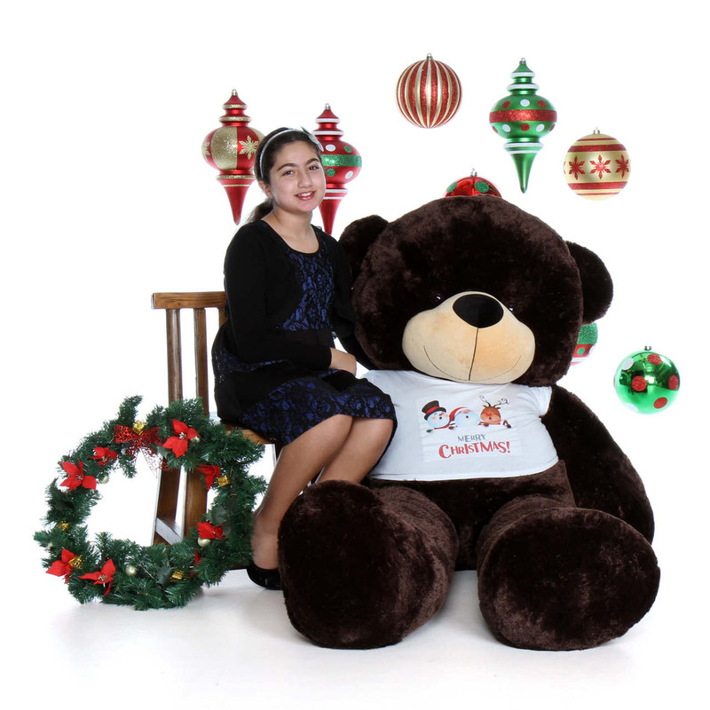 72in Dark Brown Giant Teddy Bear Merry Christmas Brownie Cuddles