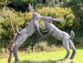 Boxing Hares Wire Sculpture by Paula Joule Blake