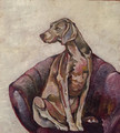ORIGINAL Weimaraner on Velvet Chair by Jenni Cator
