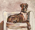 PRINT Boxer Dog on White Chair by Jenni Cator