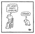At Least the Dog Loves Me - Personalised 'Off the Leash' print by Rupert Fawcett