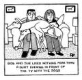 Quiet Evening in Front of the TV.   Personalised 'Off the Leash' print by Rupert Fawcett