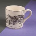 Multi Dog Owners Know to Get into Bed Before the Dogs! - Off the Leash' Creamware Mug by Rupert Fawcett