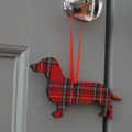 Daxi Wooden Hanging Decoration / Gift Tag - Red Tartan