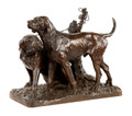 19th Century Bronze of a Pair of Hounds by AJ Le Duc