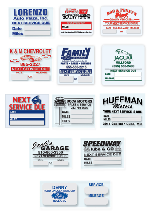 Custom Oil Change Reminder Stickers