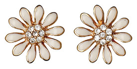 Pilgrim Marguerite Gold Plated Earrings White