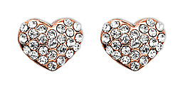 Pilgrim Crystal Heart Stud Earrings Rose Gold Plated