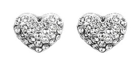 Pilgrim Crystal Heart Stud Earrings Silver Plated